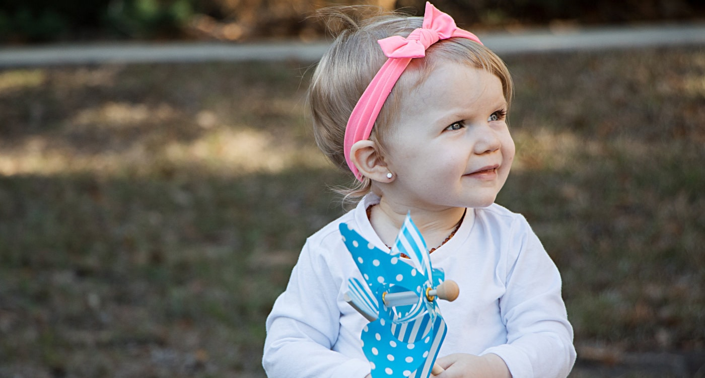 Toddler with Pink Headband